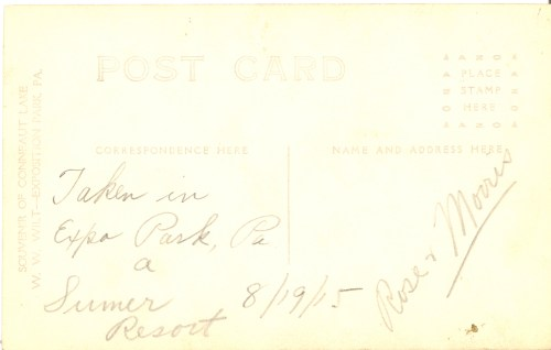 Reverse of Rose and Morris Broida at Conneaut Lake, Exposition Park, Pennsylvania, a summer resort. Taken 19 Aug 1915.