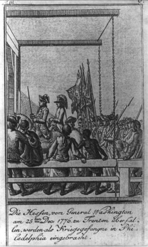 1784 engraving showing the Hessians captured at Trenton being marched to Philadelphia, then the American capitol. via Wikipedia, public domain.