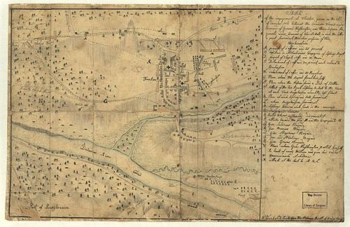 Hessian sketch of the Battle of Trenton, 1776. Click to enlarge, and note the Knyphausen Regiment's quarters to the east of Trenton. Map via Wikimedia, public domain.