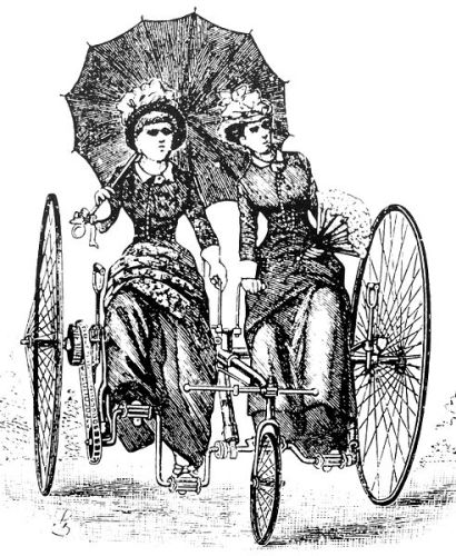 German image from 1886 of tandem bicycle with women wearing bloomers. Wikipedia, public domain.
