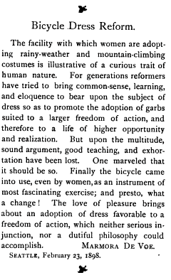 Bicycle Dress Reform. The Pacific Unitarian, Vol. 6, No. 5, Page 129. March, 1898, San Francisco, California, via GoogleBooks.