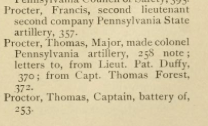 "Officers by the name of Proctor listed in, ""The Battles of Trenton and Princeton"" by William S. Stryker, 1898."