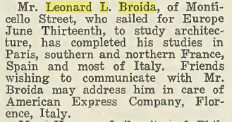 Leonard L. Broida- European Studies. In the Jewish Criterion, 7 December 1923, Vol. 62, No. 6, Page 27, courtesy of Pittsburgh Jewish Newspaper Project.