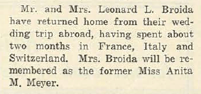 Leonard L. BROIDA and Anita Mae MEYER- Return from Wedding Trip, via 07 May 1926 Jewish Criterion, Vol. 67, No. 26, Page 52, posted with kind permission of Pittsburgh Jewish Newspaper Project.
