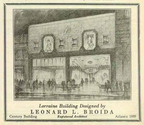 The Lorraine Shop, designed by Leonard L. Broida. Article in the 28 June 1929 Jewish Criterion, Vol. 74, No. 28, Page 35, courtesy of the Pittsburgh Jewish Newspaper Project.