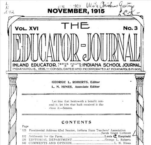 """The Educator-Journal,"" George L. Roberts, Editor, November 1915."