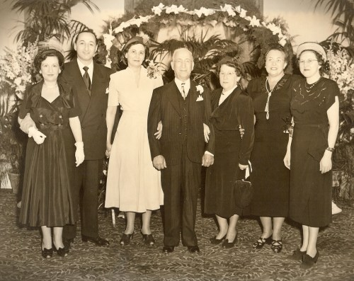 Wedding of Joseph Cooper to Bess __, sometime after December 1934. Family photo.