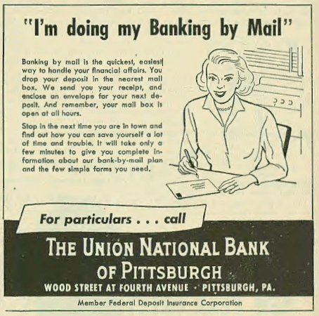 Banking by Mail- American Jewish Outlook, 25 Aug 1950, Vol. 32, No. 17, Page 15. Courtesy of the Pittsburgh Jewish Newspaper Project.