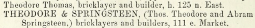 "Theodore & Springsteen, bricklayers & builders, as listed in the ""Indianapolis directory and business mirror for 1861,"" via Archive.org."