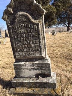 Tombstone of Hepzibah (Clark) Horn in Sandhill Cemetery, Cedar County, Iowa, after strong winds blew through the cemetery in March, 2016.