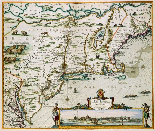 Vervaardigd in ca. 1684. This map of the current New England was published by Nicolaes Visscher II (1649-1702). Visscher copied first a map by Jan Janssonius (1588-1664) from 1651 and added a view of New Amsterdam, the current Manhattan. The map is very accurate: each European town which existed at the time has been represented. Public domain via Wikipedia.
