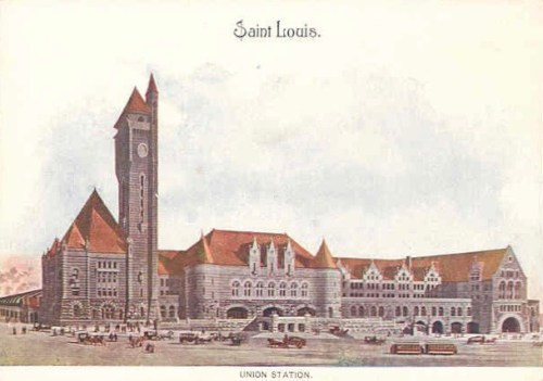 Postcard of exterior of Union Station in St. Louis, Missouri.