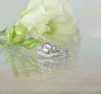 Antique Style Wedding Set Natural Diamond Alternative