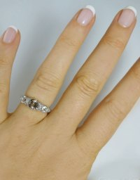 Three Stone Promise Ring Herkimer Diamonds Micro Pave Design