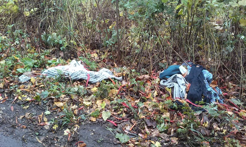 Herkimer - Discarded child's clothing near historic Herkimer Meth Encampment
