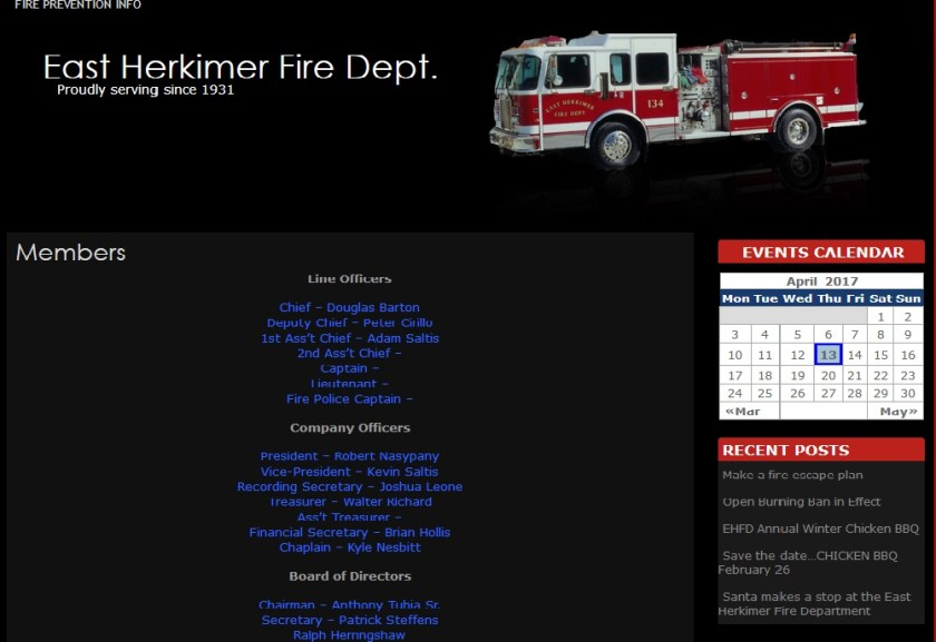 Herkimer's Douglas Barton now Chief of the East Herkimer Fire Dept