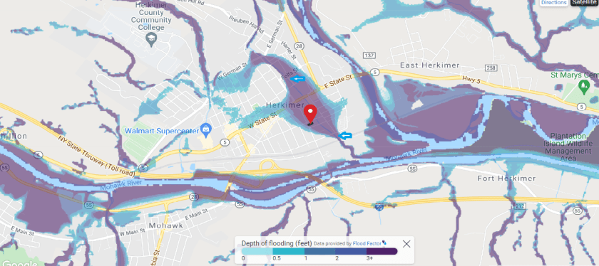 The current FEMA Flood Map shows flooding in zones where Herkimer Hydraulic Canal has been filled in.