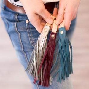 Handmade Leather Keyring Zipper Pull Bag Bling