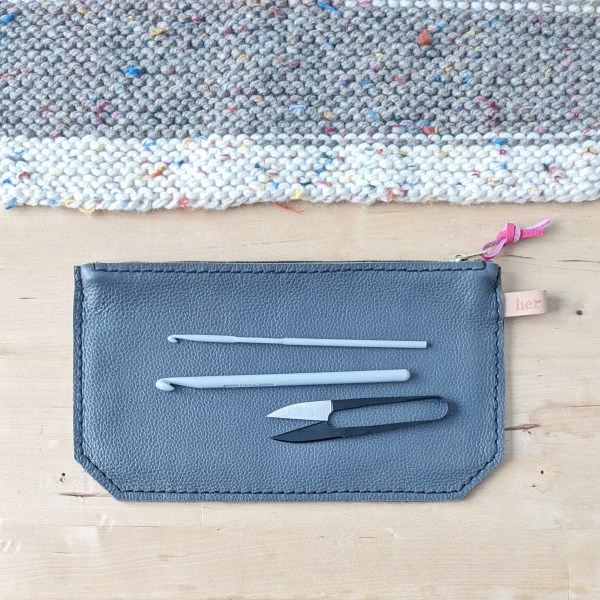 Grey Zippered Pouch Flat