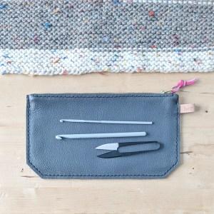 Grey Zippered Pouch Flat