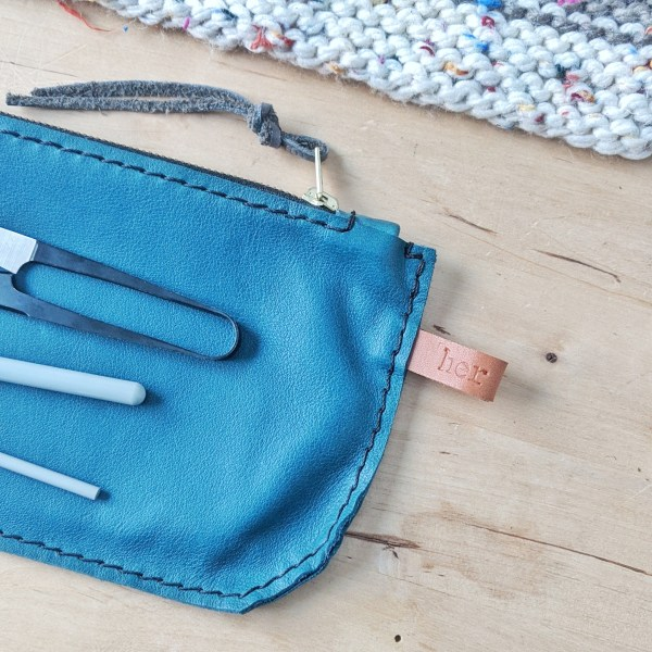Teal Zippered Pouch Angle