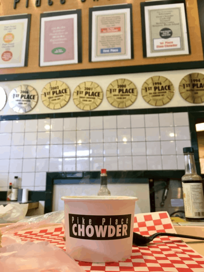 If you're looking for THE BEST clam chowder in Seattle, head to Pike Place Chowder | Her Life Adventures | #seattle #weekend #guide #wheretoeat #wheretostay #whattodo #itinerary #washington #pikeplace #chowder #food