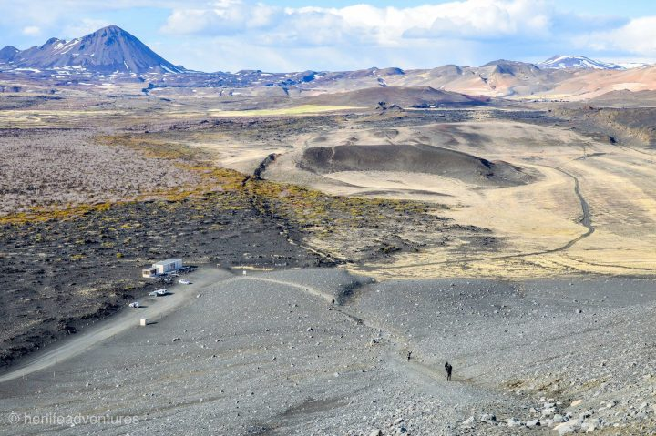 The top of Hverfjall crater overlook. The crater is located in North Iceland, a hike takes you to the top of the massive crater you can see from the road.
