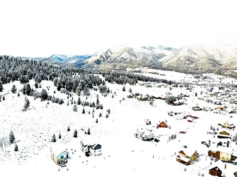 Drone Shot Big Sky Montana The adventure guide to Big Sky Montana in the winter. | herlifeadventures.blog | #traveldestinations #travelideas #northamericatravel #traveltips #usdestinations #travelhacks #travelguide #adventuretravel #roadtrip #bigsky #montana #adventureguide #winteractivities #wintertravel