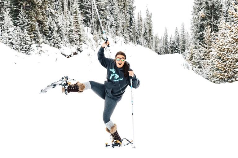 snow shoe big sky Montana The adventure guide to Big Sky Montana in the winter. | herlifeadventures.blog | #traveldestinations #travelideas #northamericatravel #traveltips #usdestinations #travelhacks #travelguide #adventuretravel #roadtrip #bigsky #montana #adventureguide #winteractivities #wintertravel