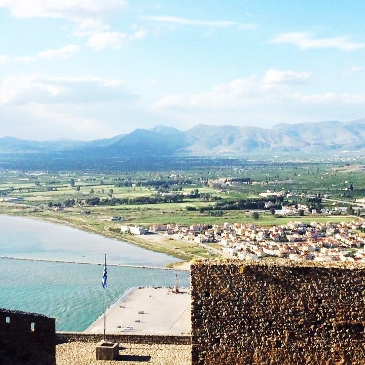 View from the top of the Palamidi Fortress in Nafplio, Greece.