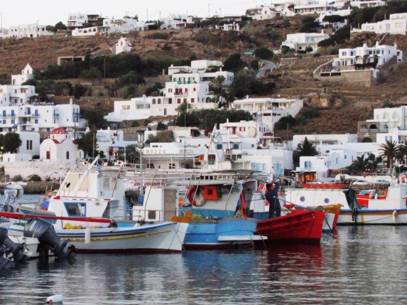 Boats docked in Mykonos