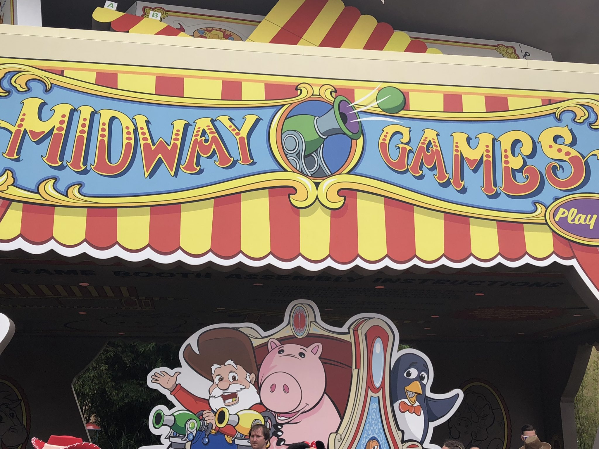 Cut-out decor in front of Toy Story Mania!