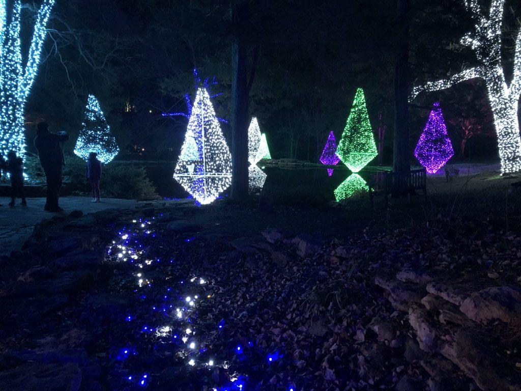 Lights on the pond at Cheekwood