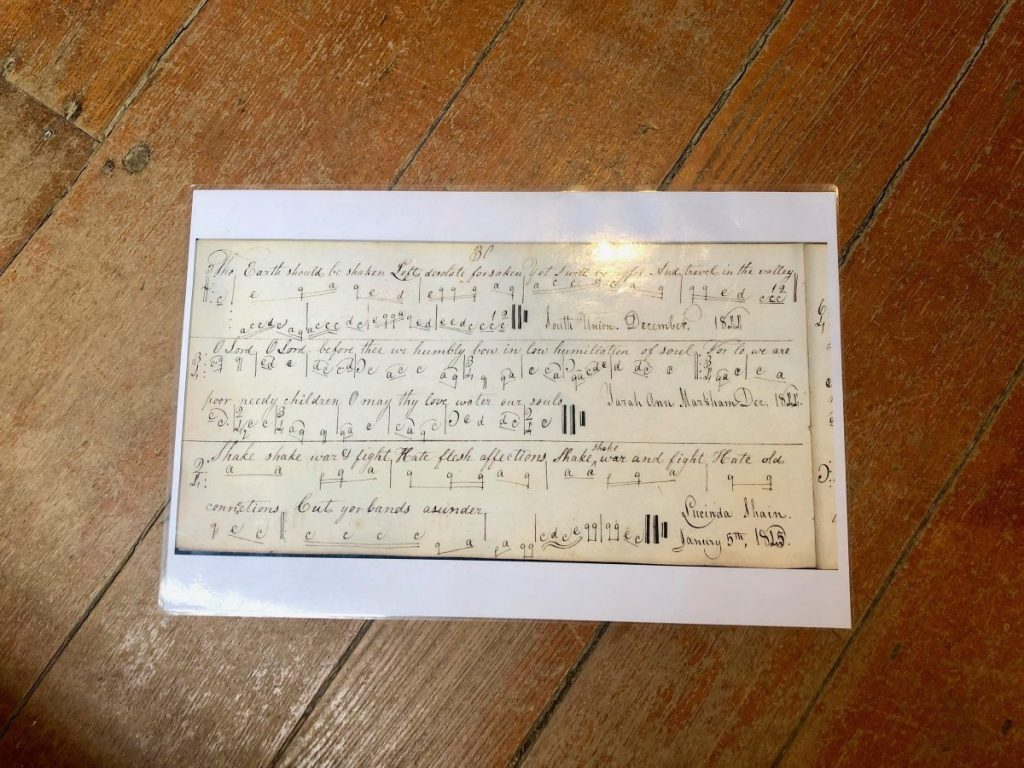 An example of written music at Shaker Village of Pleasant Hill | Her Life in Ruins