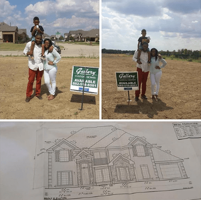 black family standing on plot of land purchased to build their home