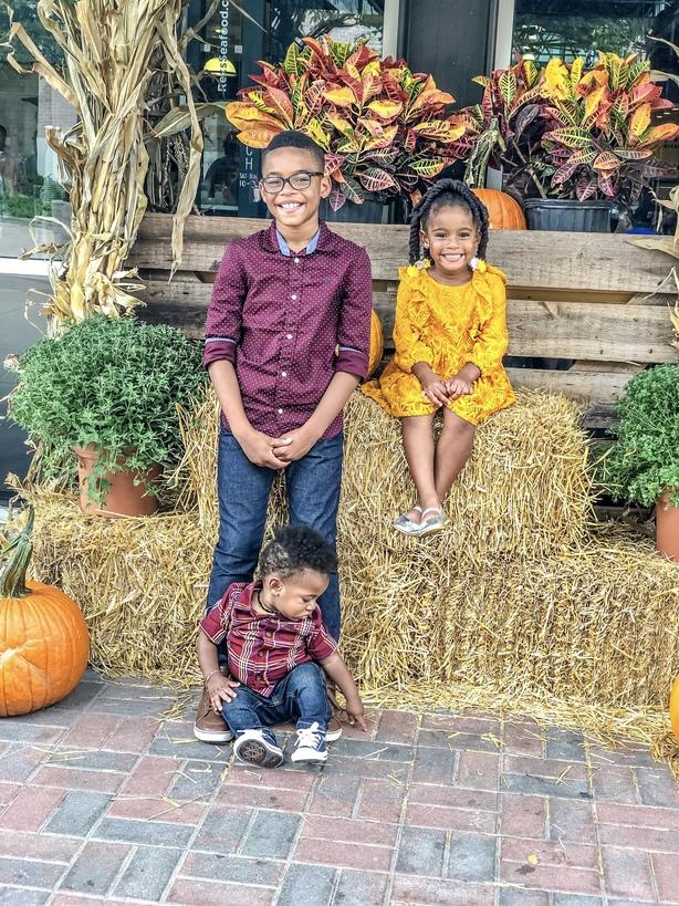 adorable siblings during diy fall photo shoot