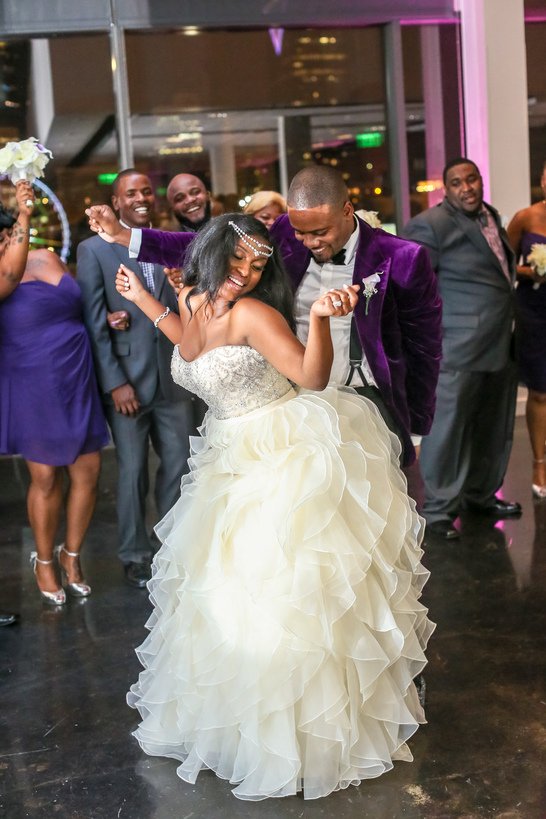 black couple during the first dance at their wedding