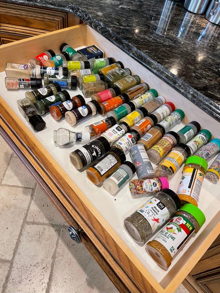 Spice drawer before organization.