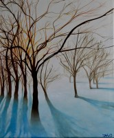 oil painting, winter shadow