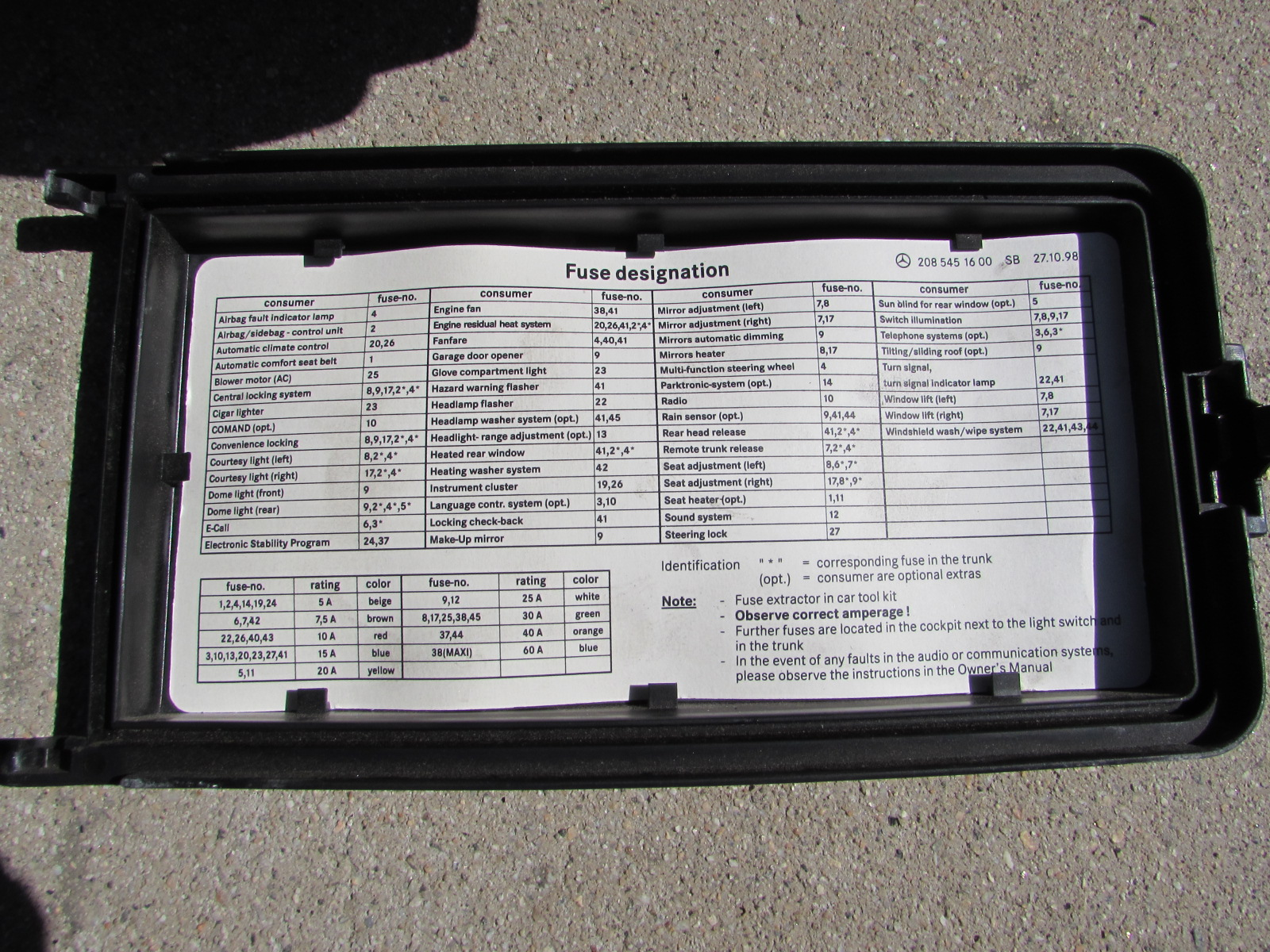 mercedes sprinter fuse box diagram 2002 chevy venture radio wiring 2085400050 w208 w202 clk c class