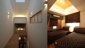 階段ホール 主寝室の折り上げ天井
