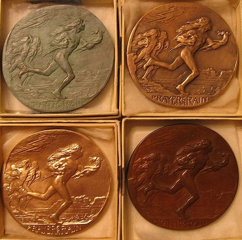 Four examples of various finish patinas medals that MacNeil selected for SOM#3 in 1931 (from collection of Dan Leininger, webmaster)