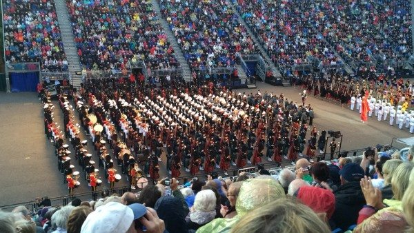 Bagpippers playing in mass at the 2014 Tatoo