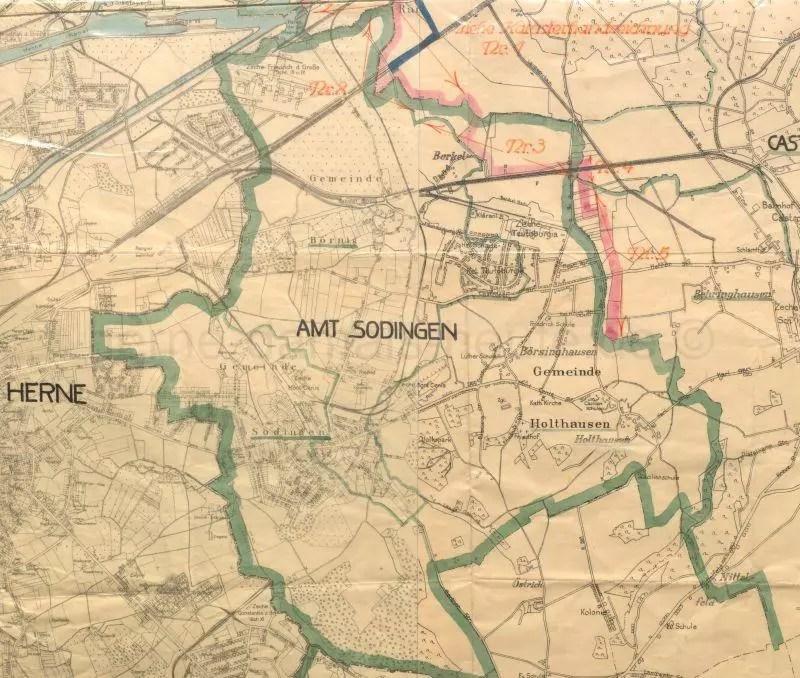 Herne Karte.Karte Des Amtes Sodingen Anfang 1928 Foto Stadtarchiv Herne