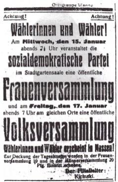 Aufruf der SPD zur Frauen- und Volksversammlung, Repro Norbert Kozicki