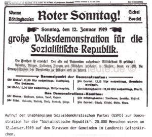 Aufruf zur Demonstration für die Sozialistische Republik, Auszug aus 'Der Kaiser ist weg', Repro Norbert Kozicki
