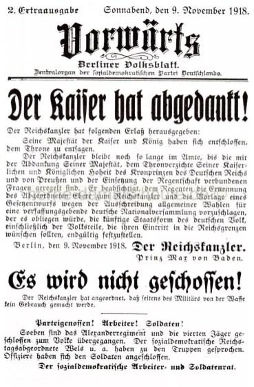Vorwärts, Extraausgabe vom 09.11.1918, Repro Norbert Kozicki