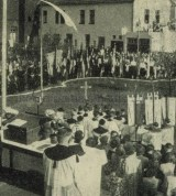 Feierstunde auf dem Baugelände, der St. Elisabeth-Kirche, 06. Mai 1951, Repro Gerd Biedermann