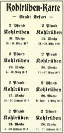 Bezugskarte für Steckrübern/Kohlrüben, Stadt Erfurt, Februar 1917, Repro Norbert Kozicki