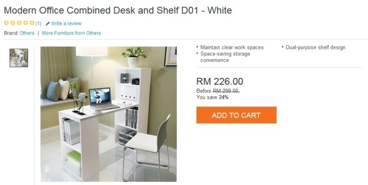 modern office combined desk and shelf D01 white